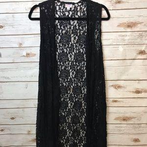 LuLaRoe Solid Black Lace Joy Size M EUC RARE